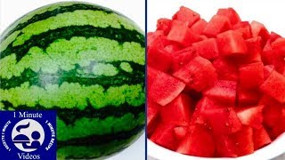How to Peel and Cut a Watermelon in One Minute (HD)