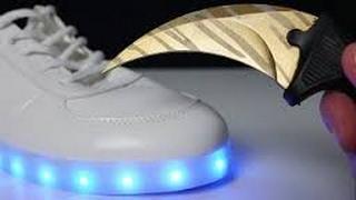 Experiment - LED Schuhe aufschneiden. Timon tanzt😍