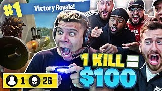 1 KILL = $100 FORTNITE CHALLENGE W/ TEAM ALBOE AND WOLFIE!! Fortnite: Battle Royale! *HILARIOUS*