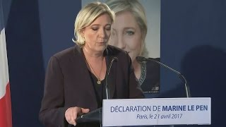 Far-right candidate Marine Le Pen, reacts to the terror attack on the Champs-Elysee