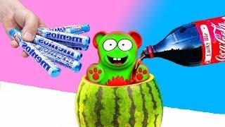 Experiment - Glibbi Pulver Mentos und Coca Cola mit dem Lucky Bär gemischt!