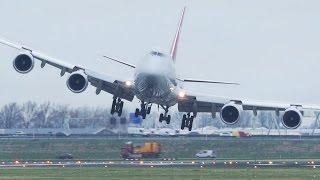 Dangerous CROSSWIND LANDINGS during a STORM at Amsterdam Schiphol - Boeing 747, Airbus 380 ...