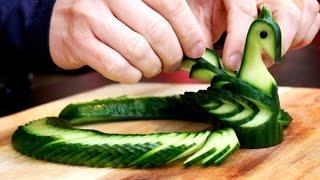 How To Make Cucumber Peacock - Vegetable Carving Garnish - Sushi Garnish - Food Art Decoration