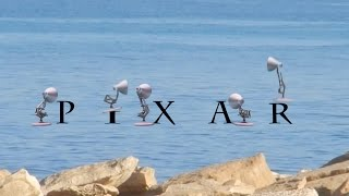 193-Five Pixar Lamps Splashing Water All PIXAR Lamp Luxo Logo