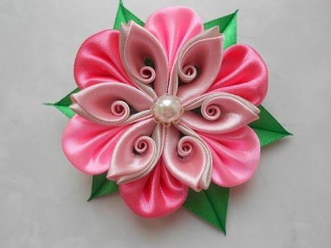 Цветы из лент своими руками канзаши мастер