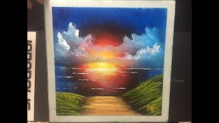 Glass sunset, painted on Glass (ACRYLIC)