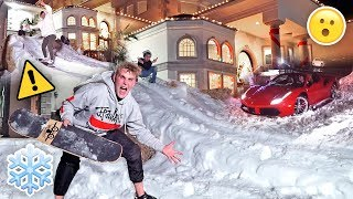 HOMEMADE GIANT SNOW SLIDE AT TEAM 10 MANSION {30 MPH}