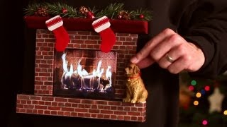Burning Fireplace Ugly Christmas Sweater (w/ an iPad)