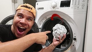 WHAT HAPPENS WHEN YOU PUT A TINFOIL BALL IN A WASHING MACHINE?! *OMG*