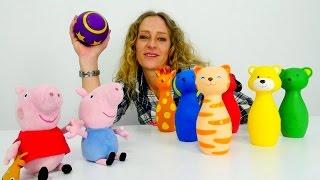 Spielspaß mit #PeppaWutz - Wir kegeln und lernen dabei die Farben - Tolle Spielsachen