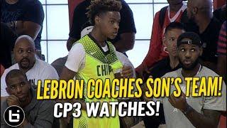LeBron James Coaches Son LeBron Jr. as CP3 Watches! Full highlights!