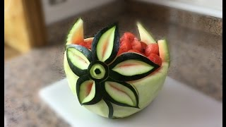 HOW YOU SCULPT A FLOWER IN WATERMELON -  Model 4 By J  Pereira Art Carving