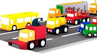 Lehrreicher Zeichentrickfilm - Die 4 kleinen Autos bauen einen Schneepflug