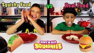 SQUISHY FOOD vs REAL FOOD CHALLENGE! DEION HATES PB&J