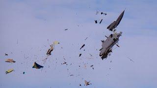 GIGANTIC RC CRASH SAAB GRIPEN XXXL 1:2 SCALE MODEL TURBINE JET FATAL END TOTAL DESTROYED