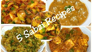 Best ● 5 Indian Sabzi Recipes/Simple and Easy Indian Vegetables Recipes/Kadai Paneer,Onion,Aloo,Koft