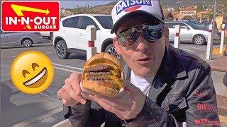 アメリカのハンバーガーはこれ!インアンドアウトの裏メニューを注文!激盛りバーガーに初挑戦!In-n-Out Burger My Favorite!  My First Secret Menu 4x4!