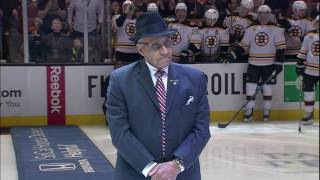 Willie O'Ree drops puck before Ducks and Bruins game