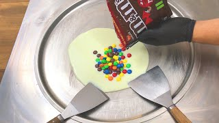 m&m Ice Cream Rolls | how to make chocolate m&m ice cream rolls - learn colors with colored m&m