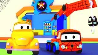 Die Lackierwerkstatt von Tom dem Abschleppwagen: Charlie der Kran ist Spiderman / Lastwagen Cartoons