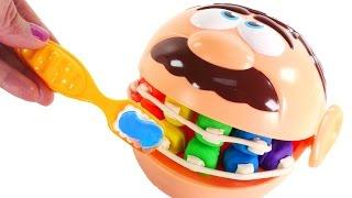 Rotten Rainbow Teeth - Play Doh Doctor Drill n Fill gets Braces - Dentist Kit