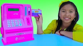 Wendy Pretend Play with ATM Machine Toy! Kid Learning How To Save Money