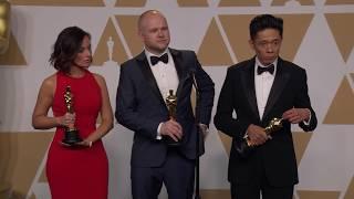 Kazuhiro Tsuji, David Malinowski and Lucy Sibbick Oscars Backstage Interview 2018