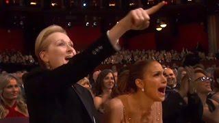 Oscars 2015: Jennifer Lopez & Meryl Streep Go Nuts For Patricia Arquette | Hollyscoop News