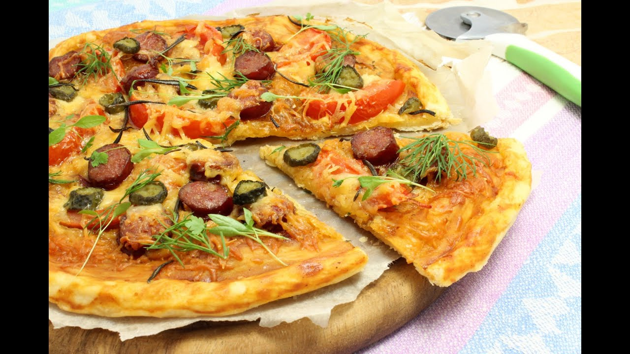 Пицца с колбасой на дрожжевом тесте рецепт с пошагово