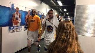 Warriors (2-0) postgame tunnel walk, Game 2 vs Blazers: Stephen Curry, Klay, Draymond, McCaw, JaVale
