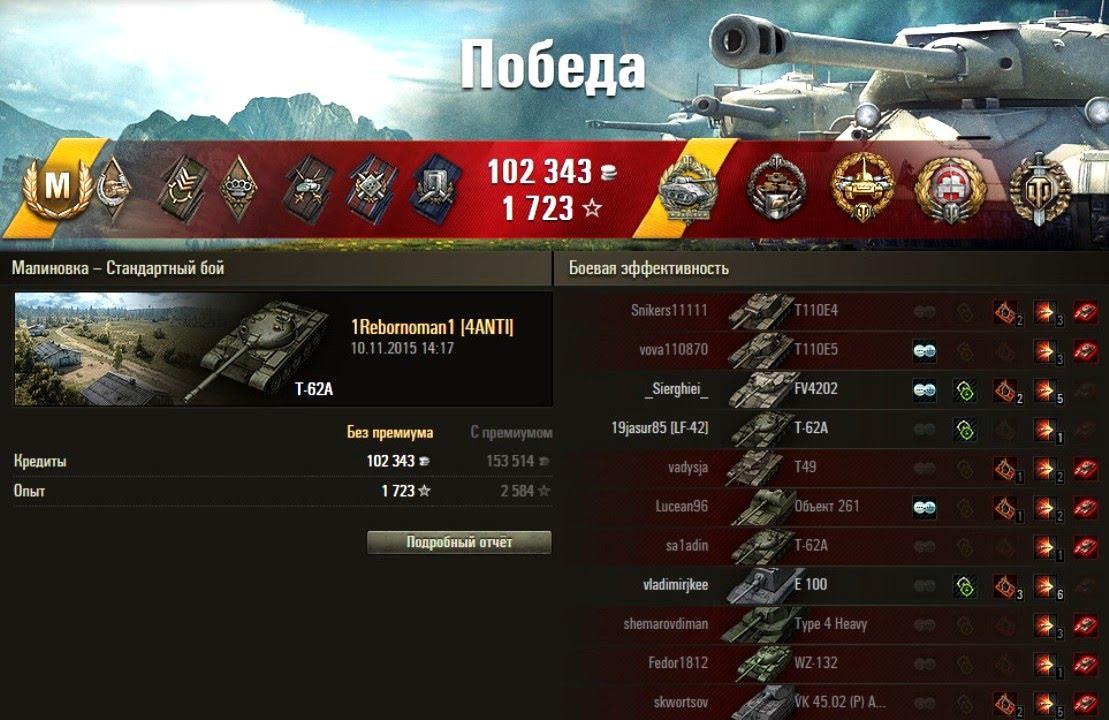 Т-62А - Экшн бой статиста на Малиновке! 11к урона! WoT Epic Full HD - Ytclone