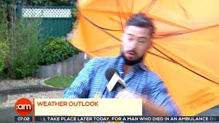 Weatherman gets (almost) blown away on Irish TV
