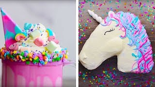 10 Amazing Unicorn Themed Easy Dessert recipes | DIY Homemade Unicorn Buttercream Cupcakes & More