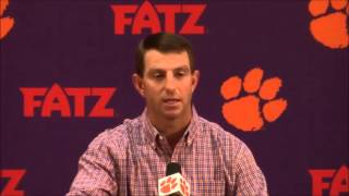 TigerNet.com - Dabo Swinney on Rex Ryan wearing Clemson helmet to presser