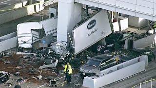 Raw Video: Chopper 5 Over Deadly Crash at Bay Bridge Toll Plaza