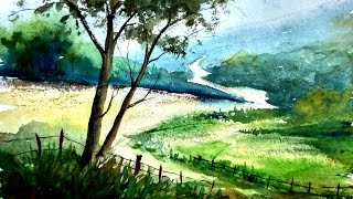 Simple landscape painting in Watercolor | Paint with david