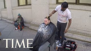 Man Hands Shop Keys To Street Barber Who Gives Free Haircuts To The Homeless: