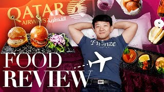 World's BEST BUSINESS CLASS! FOOD REVIEW of Qatar Airways Business Class From New York to Istanbul