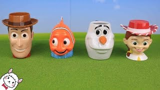 Toy Story Finding Nemo Frozen Olaf おもちゃ フェイスマグカップとビーズ Surprise Eggs Toys Disney Pixer