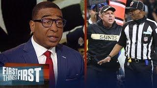 Cris Carter reacts to the controversial non-call in Saints