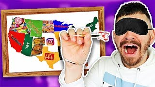 Throwing a Dart at a Map and EATING Wherever it Lands... (24 Hour Impossible Food Challenge)
