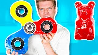 DIY GIANT GUMMY FIDGET SPINNER!!!!! How To Make Rare Edible Candy Fidget Spinners Toys & Tricks