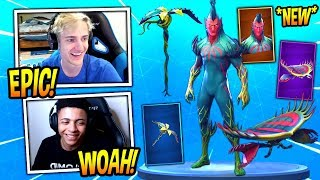"""NINJA REACTS TO *NEW* FLYTRAP SKIN, """"VENUS FLYER"""" GLIDER AND TENDRIL PICKAXE!  Fortnite Moments"""