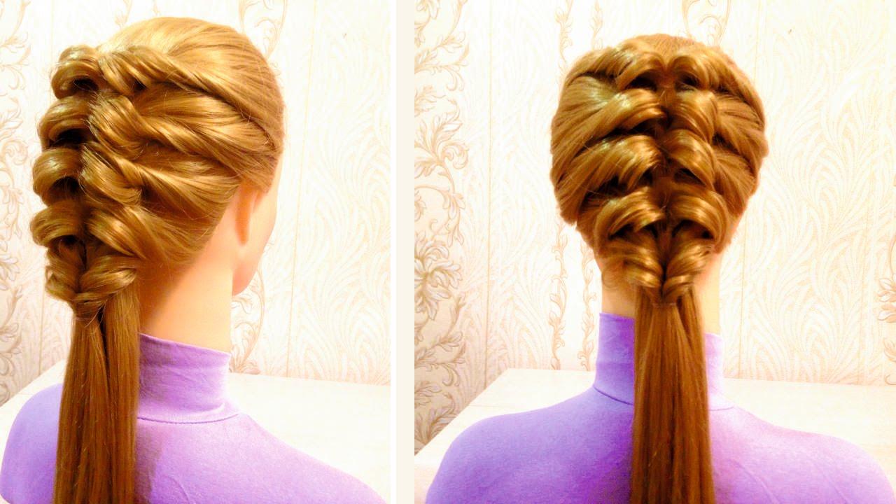 Легкая прическа на средние волосы своими руками в школу