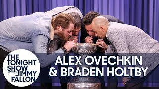 Alex Ovechkin, Braden Holtby & Triple Crown Jockey Mike Smith Drink from Stanley Cup