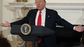 President of The United States Donald J Trump speaks at the Woman