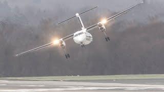 STORM Friederike!!  TURBOPROP CROSSWIND Landings during a storm at Düsseldorf (4K)