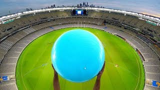 CATCHING EXERCISE BALLS with MAGNUS EFFECT from STADIUM ROOF!