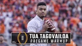 Alabama QB Tua Tagovailoa warms up for the national championship