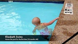Baby Elizabeth Swims Across Pool